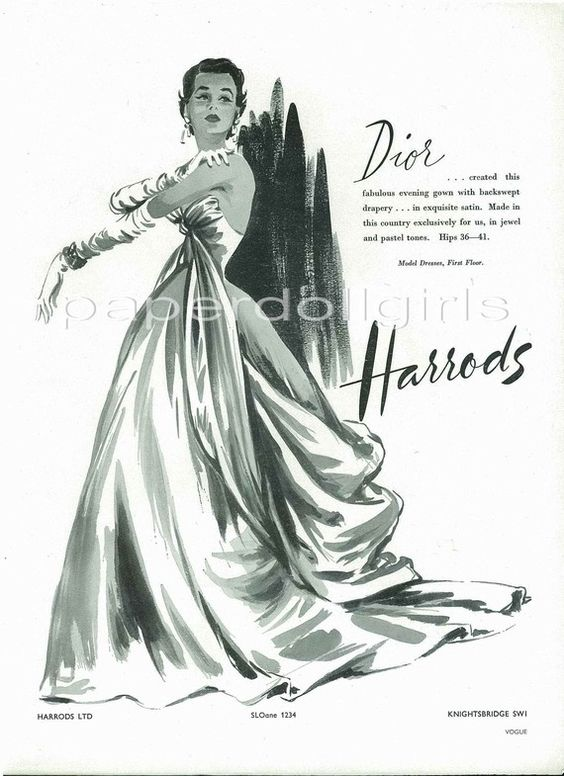 UK Vogue 1953 Magazine Advertisement CHRISTIAN DIOR Evening Gown Sold at Harrods London