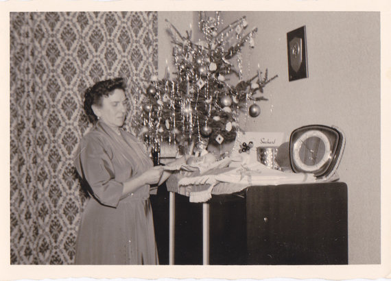 Corner Christmas Tree- 1950s Vintage Photograph