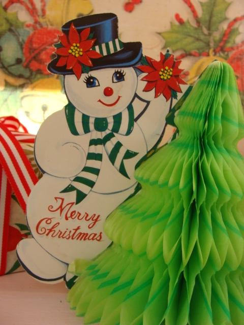 Vintage 1950s Christmas Kitsch Antique Center Piece Double Sided Honey Comb