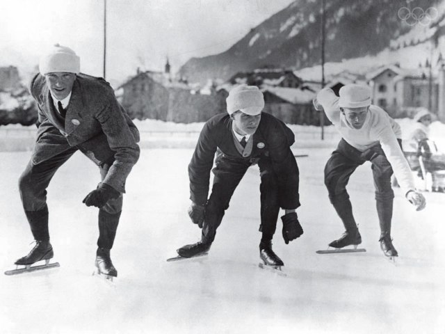 English speed skaters training in Chamonix for the Winter Olympic Games, 16th January 1924.