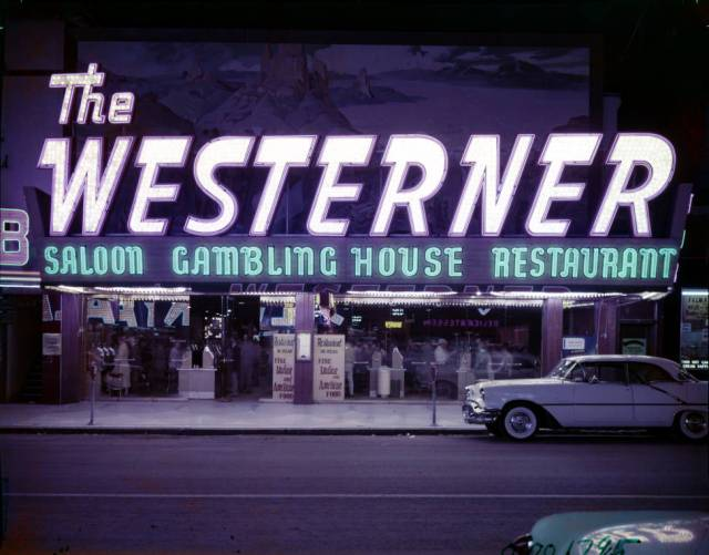 Film transparency of the front exterior of the Westerner Gambling House (Las Vegas), circa 1950s