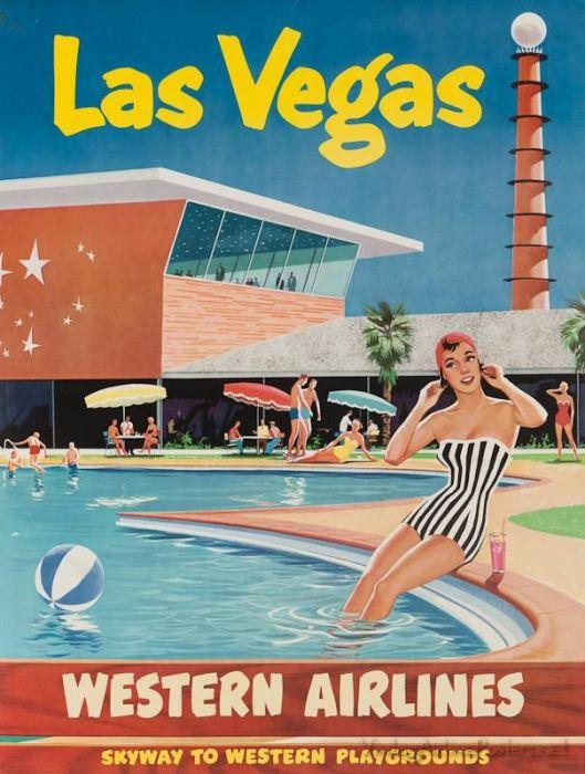Las Vegas Western Airlines vintage ad