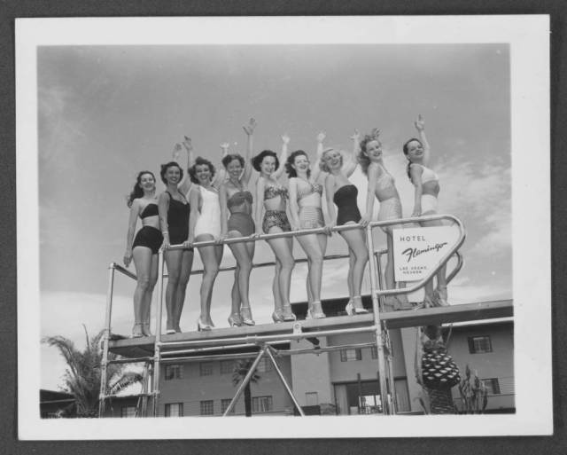 Photograph of the June Taylor Dancers posing at the Flamingo Hotel, Las Vegas, Nevada, circa 1949