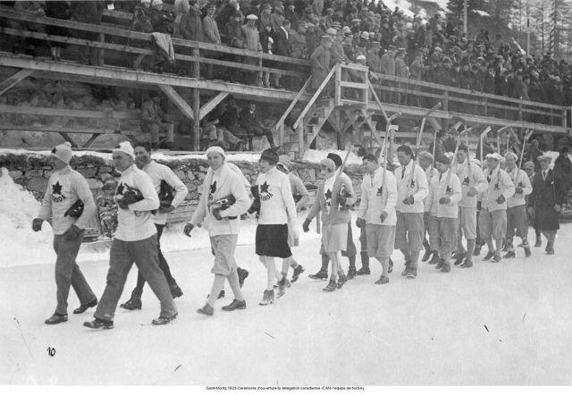 Saint-Moritz 1928-Opening ceremony-the Canadian delegation