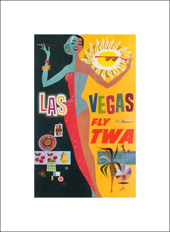 Vintage TWA Las Vegas Print, 1956 Advertisement