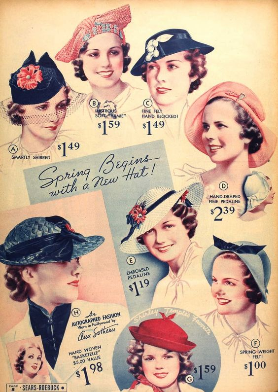 1930's. Vintage millinery, fashion advertisement