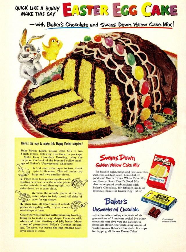 1953 Easter Egg cake recipe vintage advertising