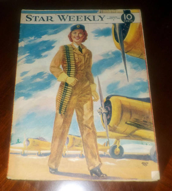 Vintage (March 17, 1945) RARE! The Star Weekly | Toronto Star magazine WWII-era issue. Cover of a female soldier.