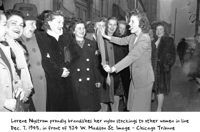 Nylons being sold after WW2 in Chicago vintage photo