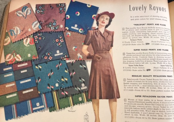 36d3ee065c0d5 1940s Rayon Patterns for dresses from 1942 1943 Vintage Montgomery Ward  Catalog