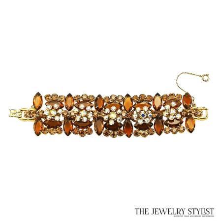 Vintage Amber-Colored Rhinestone Juliana Bracelet