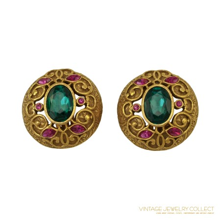 Brilliant Green Oval and Pink Marquis Rhinestone Earrings with Gold-Toned