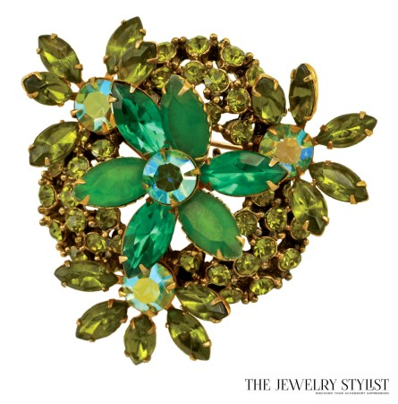 Multi Layered Peridot and Apple Green Rhinestone Brooch and Earring Set