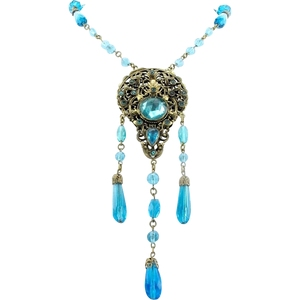 Aqua Blue Czech Glass Drops and Brass Filigree Necklace