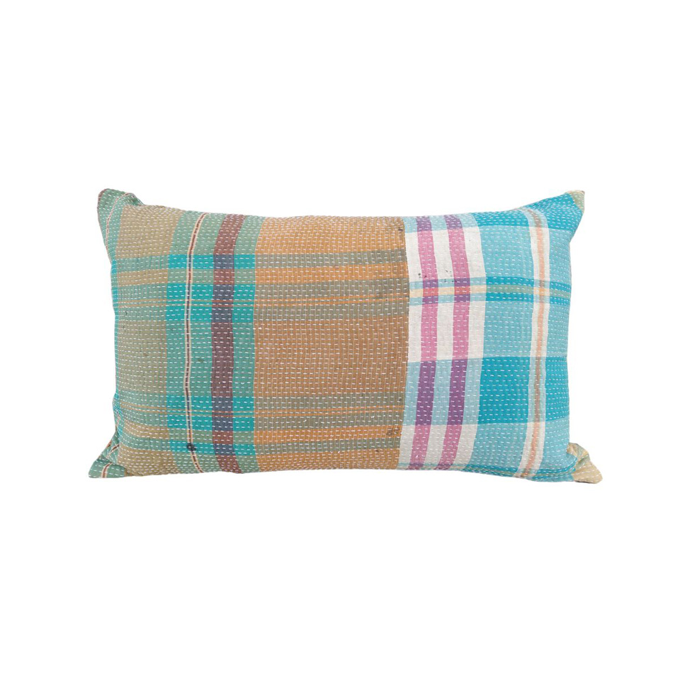 recycled cotton sari lumbar pillow cover