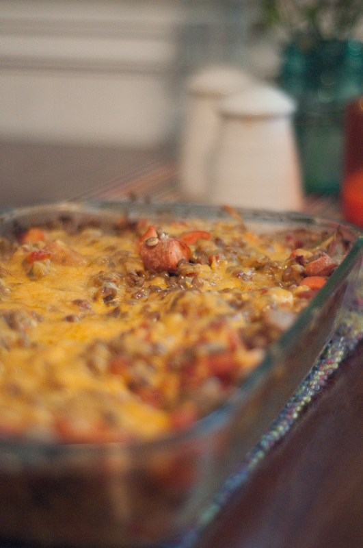 Cheesy Baked Lentils :: Cheeky Bums Blog