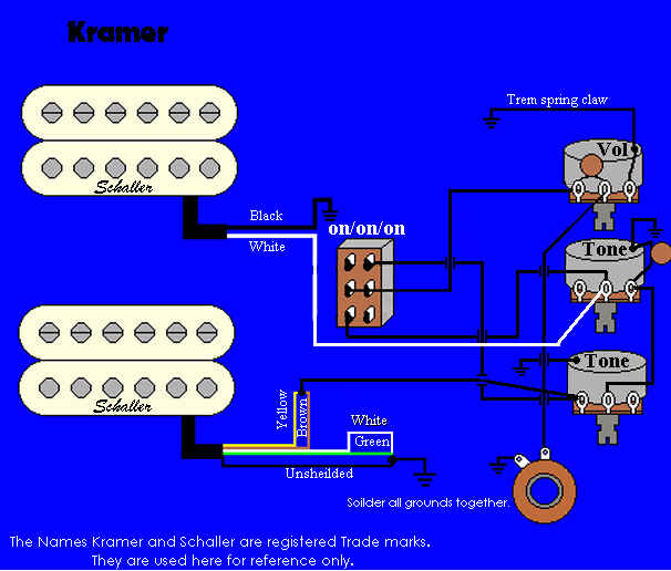 guitar wiring diagram 2 pickup 1 volume tone 1999 mustang gt kramer information and reference