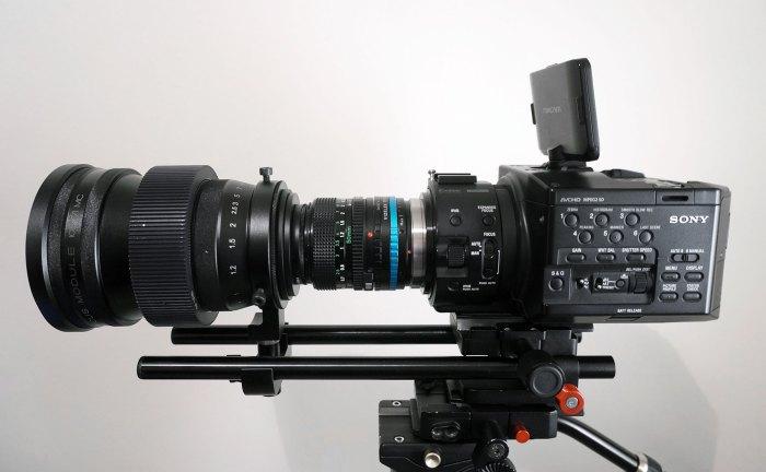 FM with Schneider Cinelux inside + Canon FD 50mm F1.5 + Sony FS100