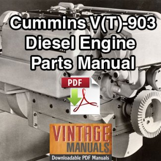 Cummins V903, VT903 Series Diesel Engine Parts Manua
