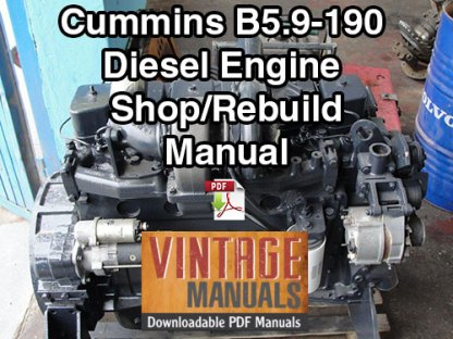 Cummins B5.9 190hp Diesel Engine Shop Rebuild Manual
