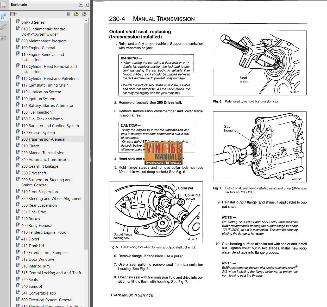1992-1998 bmw 318  323  328  m3  e36  service manual