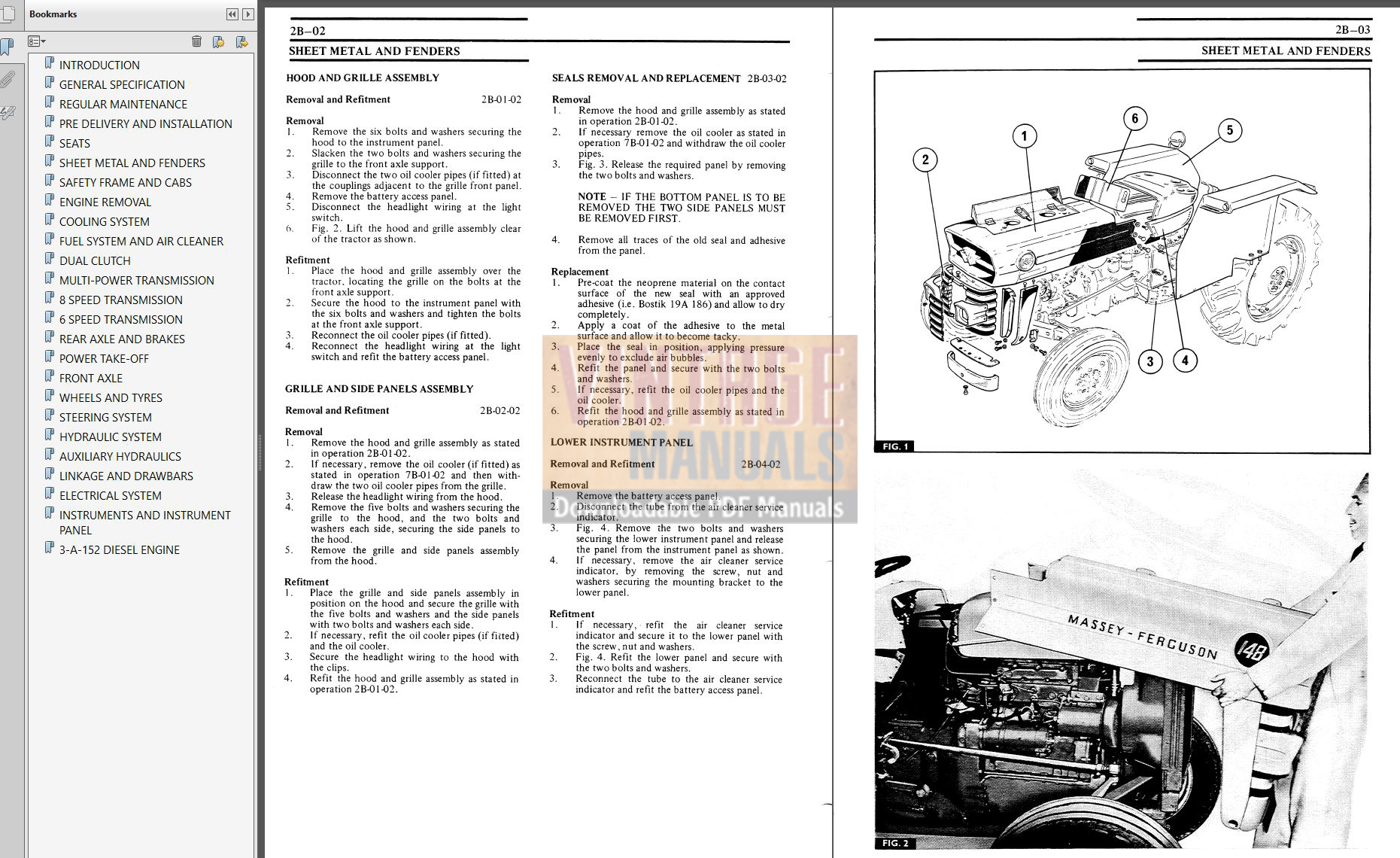 Massey Ferguson Mf 135 148 Tractor Service Manual