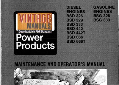 Ford BSG, BSD Engine Maintenance and Operator's Manual PDF