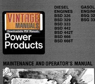 Ford BSG, BSD Engine Maintenance and Operator's Manual PDF