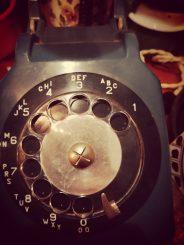 draaischijf petrol vintage telefoon
