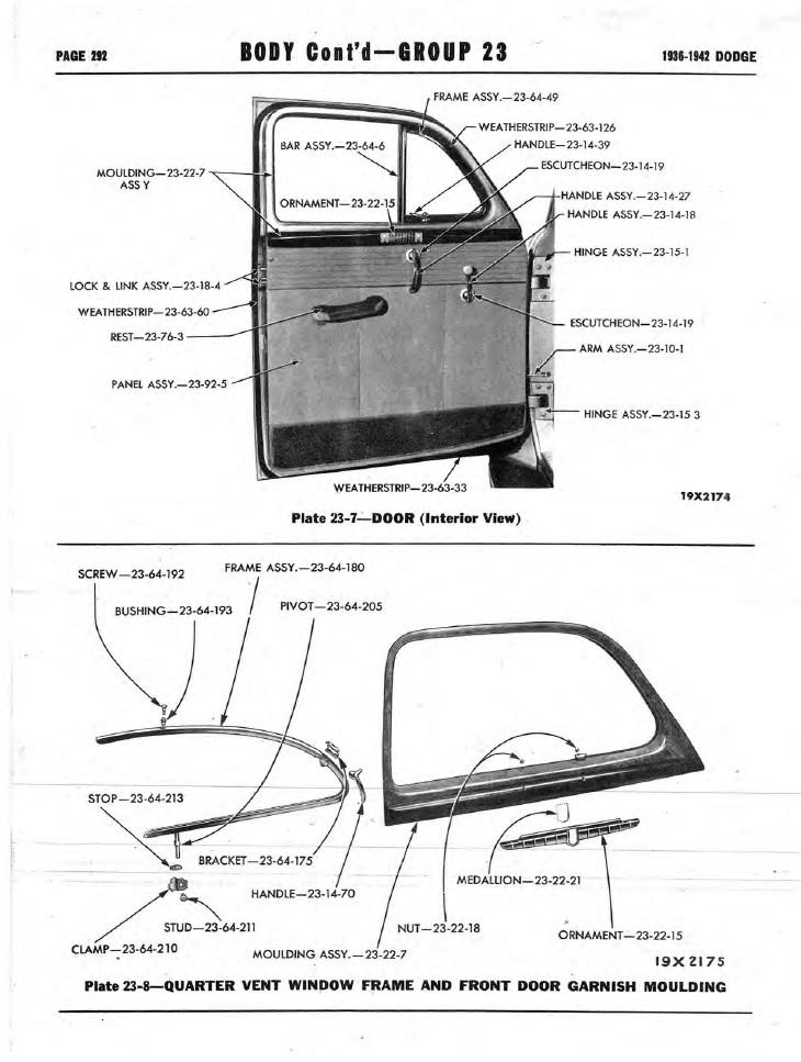 1936-1942 Dodge Car Illustrated Master Parts Catalog PDF