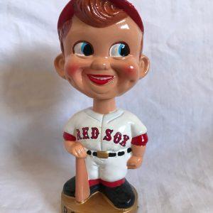 Boston Red Sox MLB Extremely Scarce Swirl Cap Nodder 1968 Vintage Bobblehead Gold Base