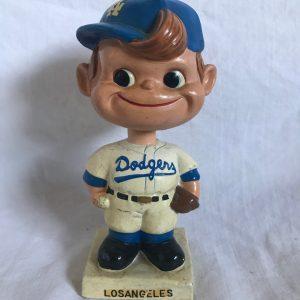 LA Dodgers MLB Extremely Scarce Crooked Cap Nodder 1962 Vintage Bobblehead White Square Base