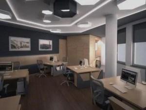 Remodelação de escritório para vários trabalhadores.