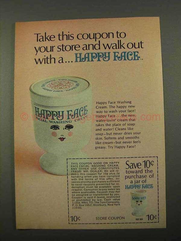 1969 Happy Face Facial Washing Cream Ad  Take Coupon