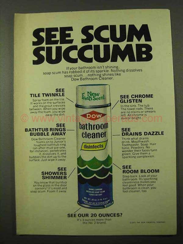 1971 Dow Bathroom Cleaner Ad  See Scum Succumb