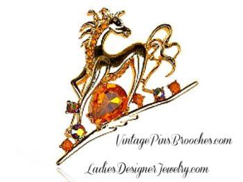 fe1f181ae69 Vintage Topaz Rhinestone Pave Diamond Horse Brooch Pin, Equestrian Equine Pins  Brooches Jewelry, Ladies