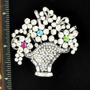f150358ec3d Bouquet Of Flowers Crystal Pin Rhinestone Designer Ladies Flower Pins