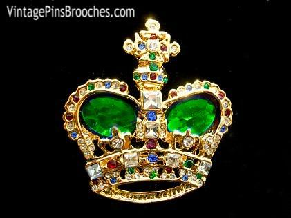 872975907 Emerald Green Vintage Rhinestone Crown Pin Brooch, Crown Brooches Pins  Rhinestones, Prom Homecomming Beauty
