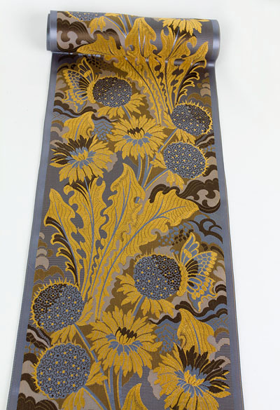 2.5 metres of satin damask ribbon, c.1910, about 20 cm in width. $175