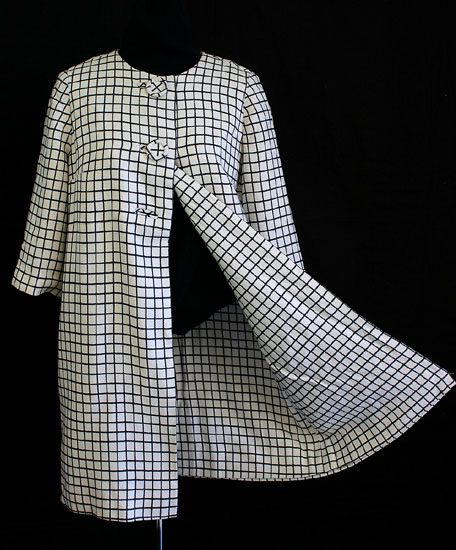 Wool plaid lightweight coat, c.1960. $175