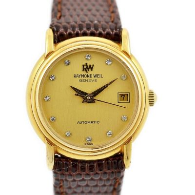 Vintage Raymond Weil 18kt Gold Plated Ladies Automatic Watch leather