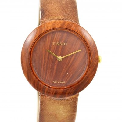Pre-Owned and Collectible Tissot Genuine Wood Watch Quartz Midsize Watch W150