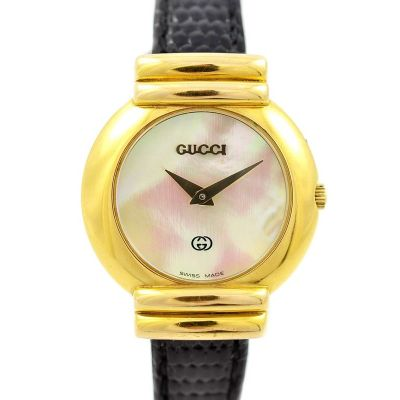 Vintage Gucci 5300L Mother Of Pearl Gold Plated Ladies Quartz Watch time piece
