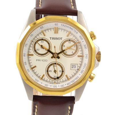Vintage Tissot PR100 Chrono Stainless Steel Quartz Mens Watch leather