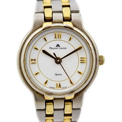 Maurice Lacroix 76201 Stainless Steel Two Tone Quartz Ladies Watch roman numerals