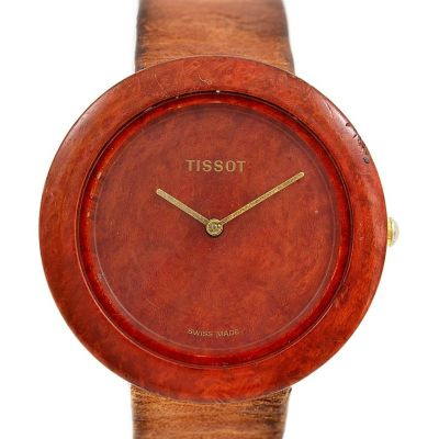 Pre-Owned and Collectible Tissot Genuine Wood Watch Quartz Watch W151 retro