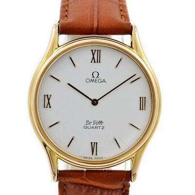 Vintage Omega De Ville Cal.1365 Quartz Gold Plated Midsize Watch roman numerals