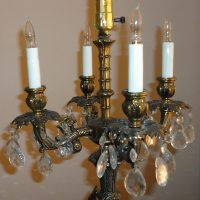 ANGEL 5 LIGHT 24 TEAR DROP PRISM CHERUB CANDELABRA LAMP