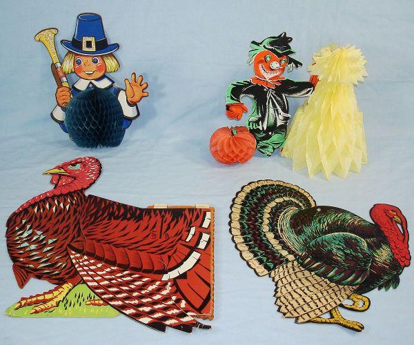 vintage thanksgiving decorations VINTAGE DIE CUT THANKSGIVING DECORATIONS BEISTLE TOM