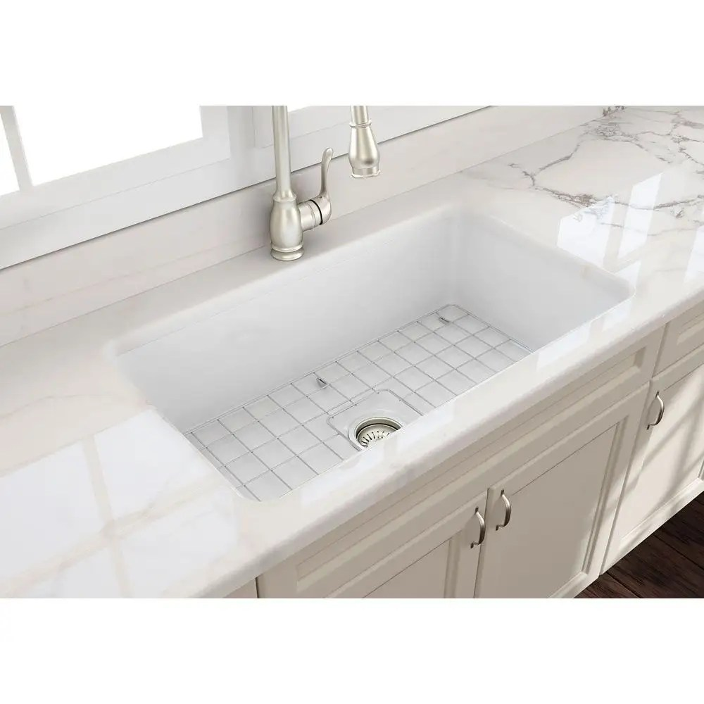 sotto 32 in undermount fireclay single bowl kitchen sink with grid and drain